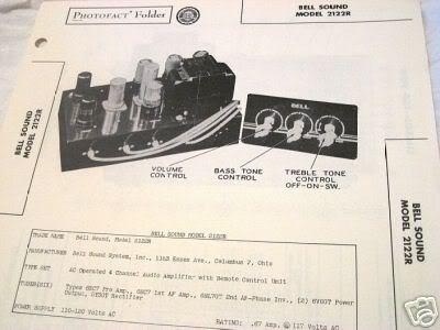 BELL SOUND TUBE AMP PREAMP MIXER 2122R SCHEMATIC MANUAL