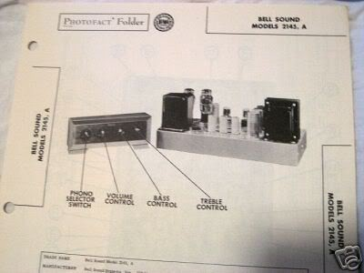 BELL SOUND 2145 TUBE AMP PREAMP PHONO SCHEMATIC MANUAL