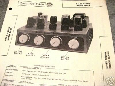 BOGEN TUBE AMP PREAMP MIXER 12AX7 DB10 SCHEMATIC MANUAL
