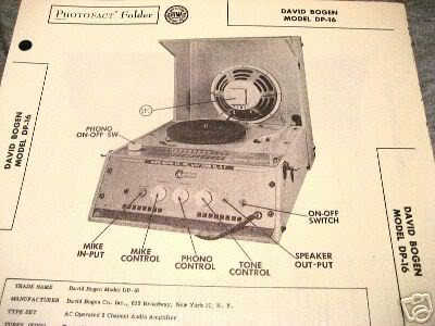 BOGEN TUBE AMP PREAMP PHONO 2 CH DP-16 SCHEMATIC MANUAL