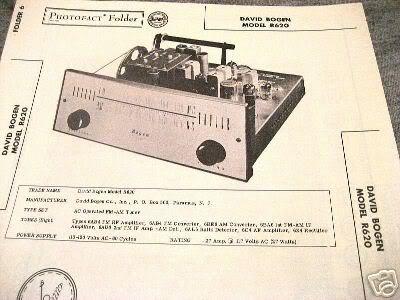 BOGEN TUBE AMP PREAMP MIXER TUNER R620 SCHEMATIC MANUAL