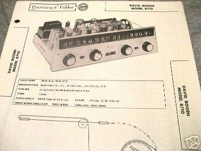 BOGEN TUBE AMP PREAMP 12AX7 TUNER R710 SCHEMATIC MANUAL