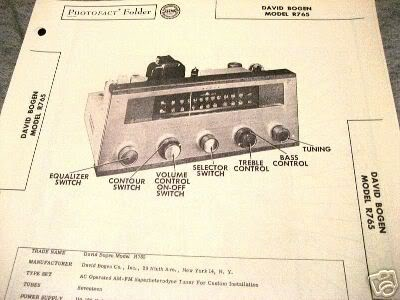 BOGEN TUBE AMP PREAMP TONE TUNER R765 SCHEMATIC MANUAL