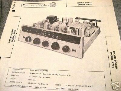 BOGEN TUBE AMP PREAMP 12AX7 TUNER R775 SCHEMATIC MANUAL