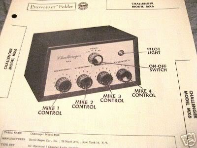CHALLENGER MX6 TUBE AMP PREAMP MIXER SCHEMATIC MANUAL