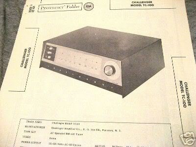 CHALLENGER TUBE AMP PREAMP TUNER TC100 SCHEMATIC MANUAL