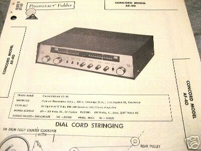CONCORD TUBE AMP PREAMP RECEIVER AF-40 SCHEMATIC MANUAL