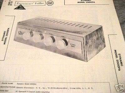 DYNAMIC 2000PA TONE TUBE AMP PREAMP SCHEMATIC MANUAL