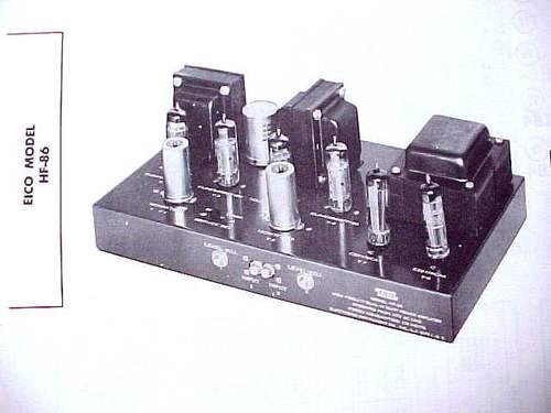 EICO HF-86 6BQ5 12DW7 TRIODE TUBE MIX AMPLIFIER MANUAL