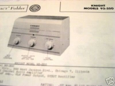 KNIGHT KIT 93-350 TUBE AMP PREAMP 2 CH SCHEMATIC MANUAL
