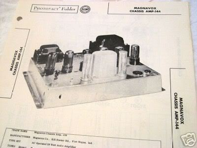 MAGNAVOX 144 TUBE AMP PREAMP MIXER SCHEMATIC MANUAL