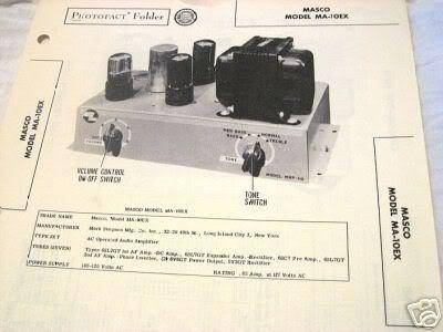MASCO TUBE AMP PREAMP MIXER MA-10EX SCHEMATIC MANUAL