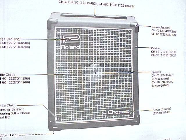 ROLAND CH-40 60 GUITAR AMP SERVICE SCHEMATIC MANUAL