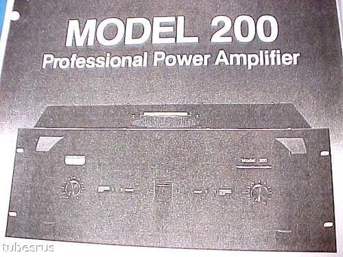 200 UNI-SYNC HIGH POWER PRO AUDIO PA AMPLIFIER MANUAL